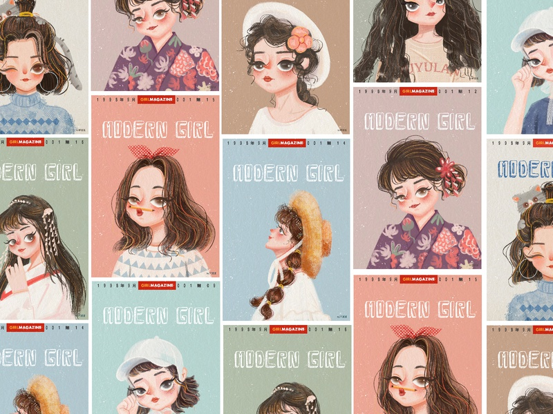 Illustration collection design illustration cut girl character art cartoon