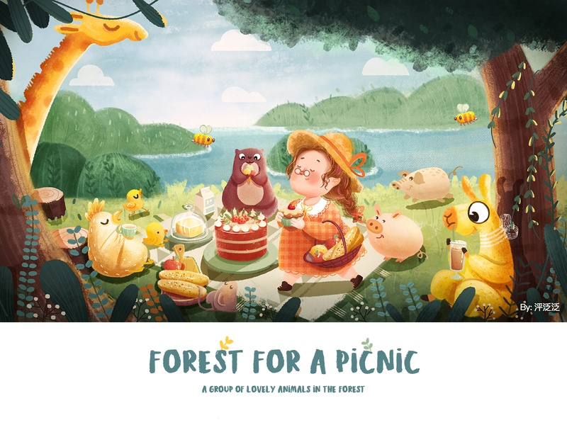 The forest for a picnic illustration girl design character art illustartion