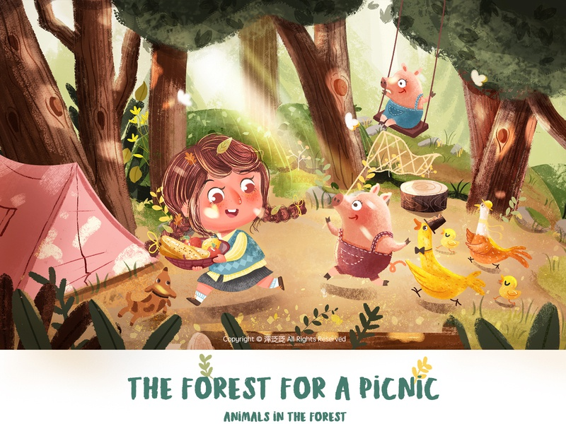 The forest for a picnic 《two》 dog kid cut girl design character art illustartion