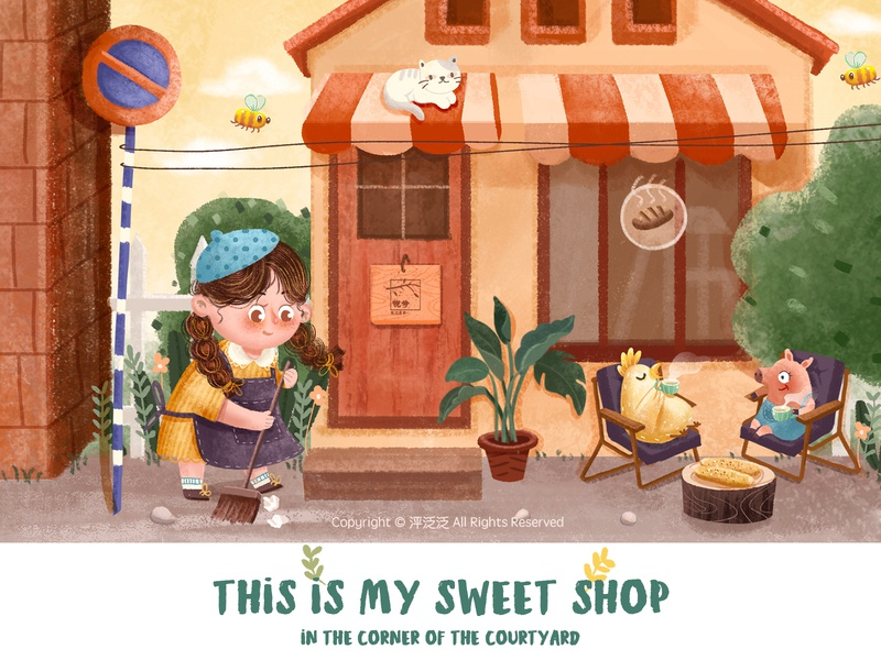 My sweet shop cut design character art illustartion