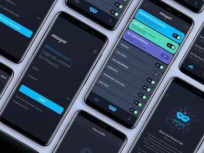 Masque App studio mobile app design dark modern mobile ui logo android app mobile app mobile uidesign