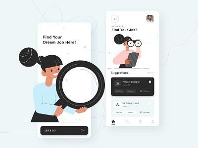 Job Finding App mobile app design mobile application design user experience graphics illustraion minimal ui design uiux mobile design mobile ui app design app