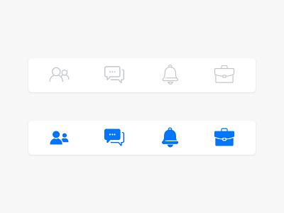 App Navigation chat notification blue work digital studio ui minimal icon design navigation app