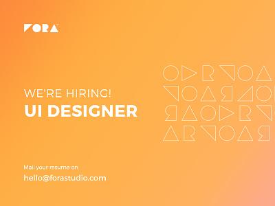 We're hiring UI designer! ui designer minimal website app work studio forastudio uiux brand