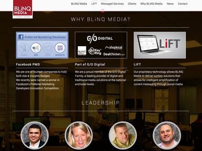 Website for BLiNQ Media website ui ux html css