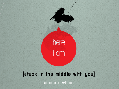 Stuck In The Middle With You illustration poster print