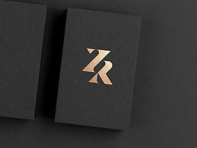 ZR luxury monogram logo gold foil bold design typography modern branding minimalist logo sleek golden gold elegant serif high contrast refined luxury monogram