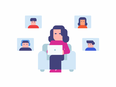 Group video conferencing freelance work at home work from home remote girl woman character work teamwork group team online call business minimalist modern illustration chat conferencing video