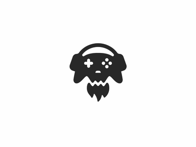 Gamepad skull logo e-sports beard ghost head mascot streaming streamer esports death dead headphones skull gamepad modern minimalist game gaming gamer icon logo