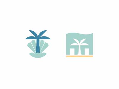 Beach villas collection logo branding logo minimalist wave tourism travel shop store house residence villa pearl shell palm mediterranean ocean sea beach