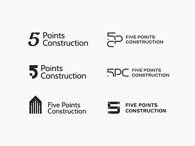 Construction management logo minimalist structure real estate property progressive monogram modern management logo line innovative identity geometric elegant development number 5 construction building branding architecture