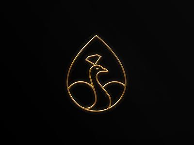 Jewelry peacock 3D logo refined beauty boutique decorative peacock logo branding ornament minimalist elegant luxury modern jewelry diamond 3d drop eardrop earring render cinema4d