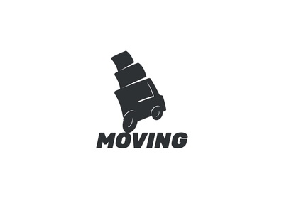 Moving race speed relocation minimalistic modern cartoon box illustration design fast drive truck car dynamic delivery logo moving