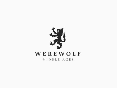 Werewolf logo concept illustration graphic design wolfman revolted rabel insurgent amok amuck reared old wild middle ages wolf werewolf emblem coat of arms logo heraldic heraldry