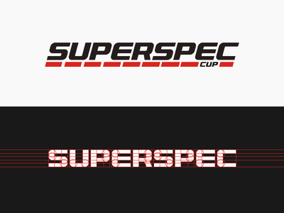 Superspec cup racing logo lettering oblique club stripe fast miata line car design typographic logo modern branding sport sports typogaphy speed cup racing race