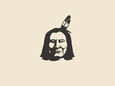 Indian leader illustration flat illustrative chief shadow portrait logo leader kiowa indian illustration feather fanart face design character branding badge