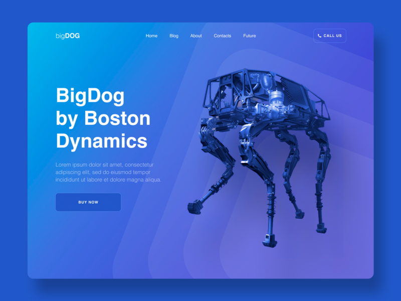 Website for BigDog of the Boston Dynamics boston dynamics home page webdesign landingpage welcome page website web ux ui design