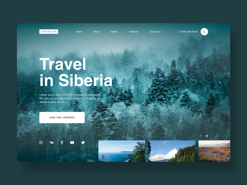 Website Travel in Siberia web design journey tourism travel tour web home page webdesign design ux ui welcome page landingpage website