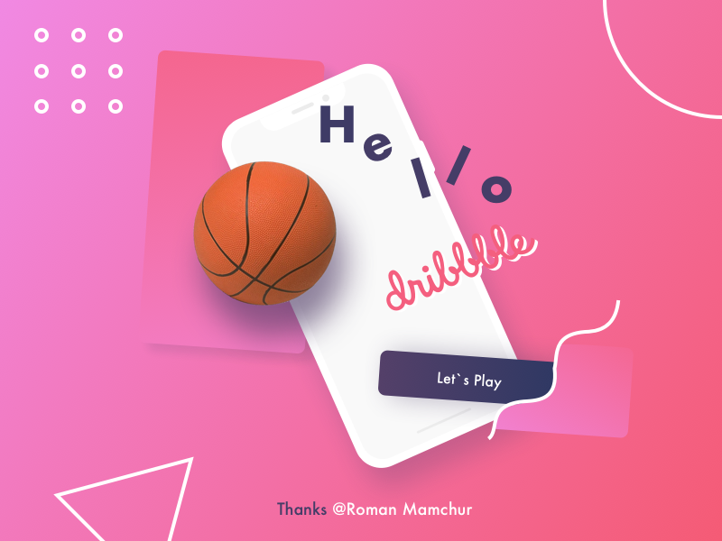 My First Shot on Dribbble ball pink hello dribbble first shot