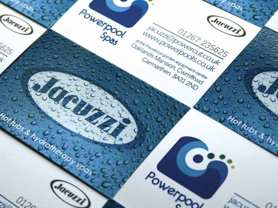 Powerpools Business Cards stationery design business cards water drops jacuzzi hot tub blue icon design branding brand identity logo design logo