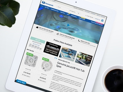Powerpools Website ipad water jacuzzi hot tubs blue icon web design website design design branding brand identity