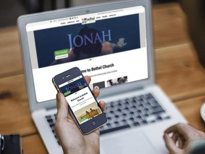 Bethel Church Website laptop bethel church brand identity logo design responsive screenshot web design website design
