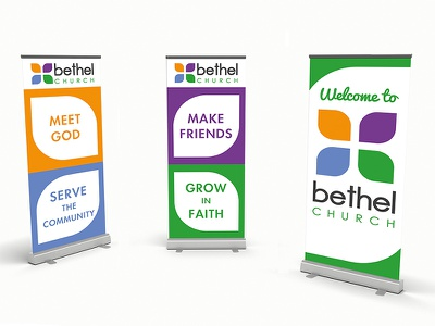 Bethel Church banners rollup banners cross christian church brand identity graphic design