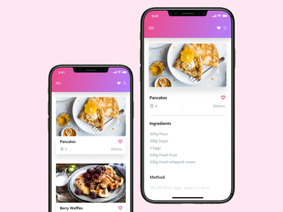 daily UI Challenge #040 iphone clean gradient pink dribbble recipe ux ui daily ui restaurant