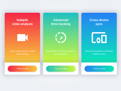 Card UI color colour typography buttons icons on boarding gradients cards ui