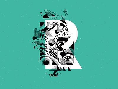 Regarde drawing graphic design vector illustrator branding typography art typography typeface type brussels belgium mountainbike illustration