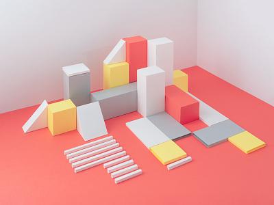 Content City 3d handmade cube square bloc ux content design paper city