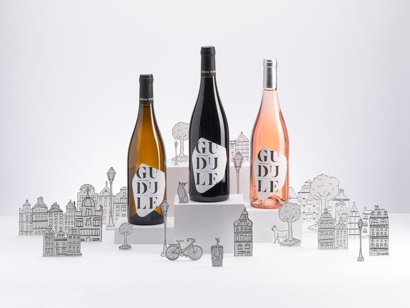 Gudule - Brussels Urban Winery branding concept brand identity brand design illustration paper handmade wine bottle belgium brussels graphic design branding logo wine label wine