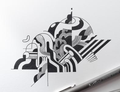 In progress black and white pen sketchbook paper handmade graphic design brussels belgium doodles doodling doodleart doodle drawing illustration