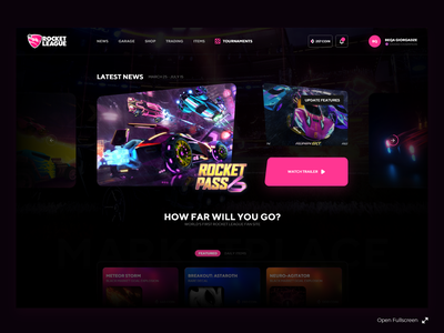 Rocket League eSport UI design clean ui rocket league gaming gaming ui gaming website esport ui esport games ui interface web design clean landing page minimal ux ui ui ux web