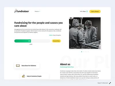 Fundraiser UI charity website design website ux minimalist minimalism minimal ui fundraiser clean ui minimal flat landing page interaction design web design web ui clean