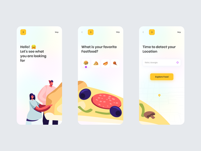 Food Delivery App interaction mobile app food and drink pizza ux ui food illustration illustration animation delivery food delivery food burger app