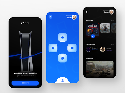 Playstation App blue sony clean ui streaming app ps5 playstation app playstation5 playstation gaming app gaming mobile app interaction
