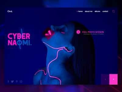 CYBER NAOMI purple web design naomi neon light photography cyber interaction colorful ux clean landing page web ui