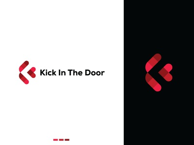 Kick In The Door negative space logo businesslogo entertainment success wellness logodesign icon symbol graphicdesign modern logotype brand identity branding logo