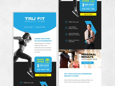 TruFit Email sign up today cta exclusive offer gym email gym fitness athletic club figma mailchimp email marketing email design