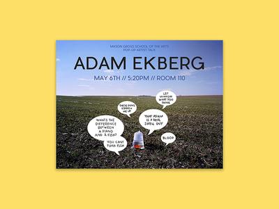 Adam Ekberg - Rutgers Artist Talk Flyer adam ekberg artist print rutgers flyer