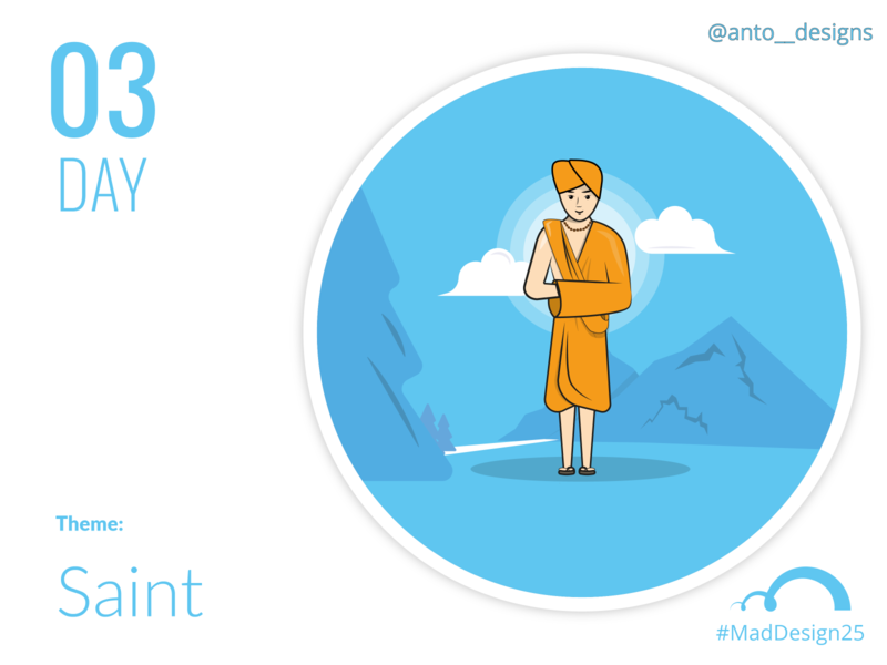 Mad design challenge- day 3 (Saint) madrasters day3 mad design artwork quarantine challenge monk saint mountain design trees nature clouds vector illustrator cc illustration