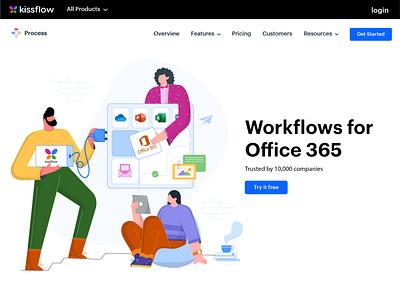 Powered by Kissflow platform adobe vectorart graphicdesign illustration illustrator device workflow work team work integration teamwork team collaboration office power powered plug suite