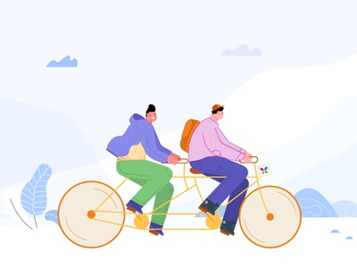 Partnership remotework website design cool design happy teamwork team collaboration explore travel friend bond illustrator illustration ride cycling cycle tandem partner partnership