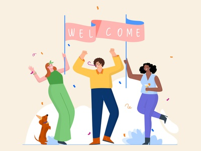 Welcome landingpage excited teamwork team boy celebrate party careers design best talent work workplace happy invite hiring hire illustrator illustration welcome