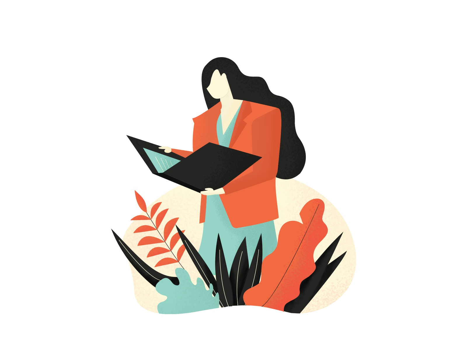 Flat illustration of a girl reading by Vaishnave Senthil