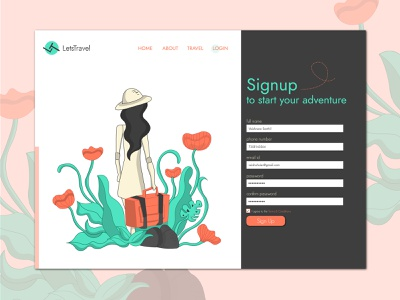 Sign Up page for a travel website illustrator signuppage signup travelwebsite travel webdesign webdevelopment design branding vectorart concept website bestdesign 001 dailyui 001 dailyui uiux ux ui adobe