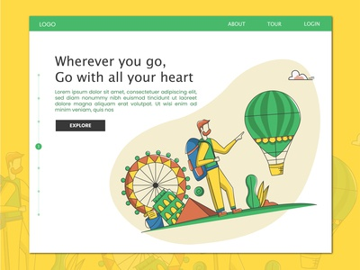 Homepage for a travel website