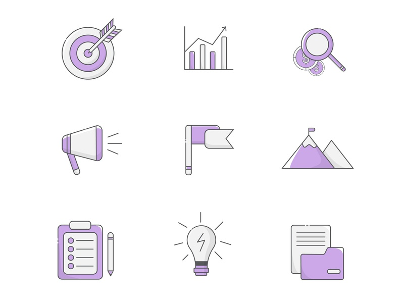 Icons neat simple flatart vectorartwork design illustrator branding free vector identity target company business iconography illustration icons pack icons set icon startup icons