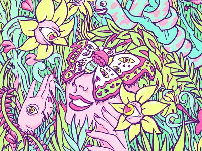 You Are Nature feminine colourful trippy surreal illustration jungle tropical nature